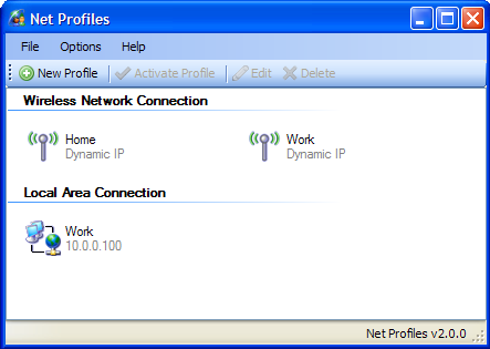 net profiles 主要視窗