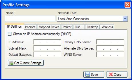 Net Profiles 設定介面